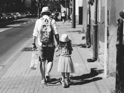 dad and daughter from back