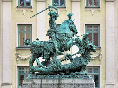 Saint George and the Dragon sculpture on Kopmantorget (Merchant Square) in Old Town of Stockholm, Sweden. This is a bronze copy from 1912 of the wooden original located in the Stockholm Cathedral.
