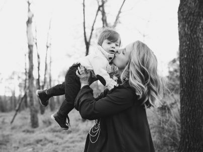 Black and white photo mom and child copy